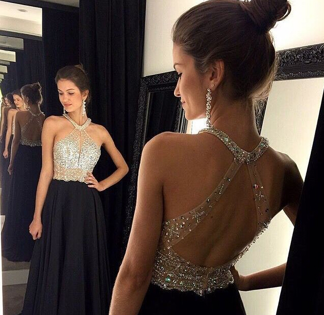 Shiny Crystals Black Prom Dresses Halter Neck Chiffon Long Evening ...