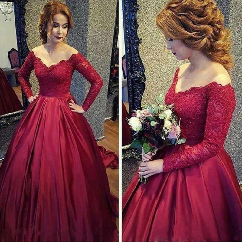 XP255 New Arrival Burgundy Satin Prom Dress, Red Ball Gown, Long ...
