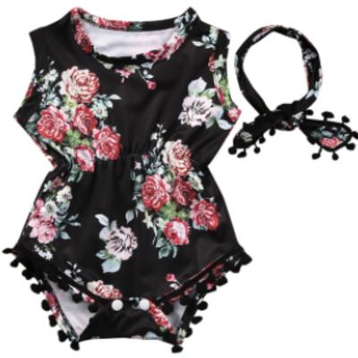 01d35424cd0 Baby toddler black floral romper headband set