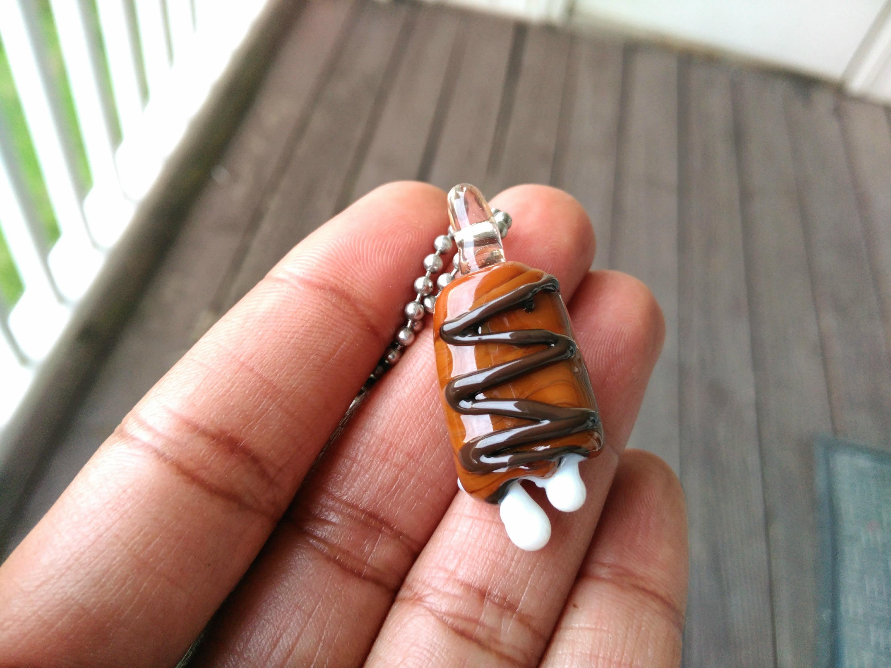 chocolate candy bar heady glass pendant candy necklace lampwork jewelry - Heady Glass Pendants
