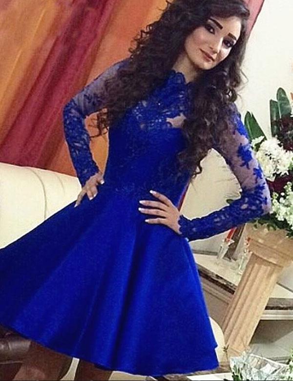 Royal Blue Homecoming Dress,Appliques Homecoming Dresses,Long Sleeve ...