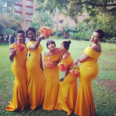 yellow long bridesmaid dresses
