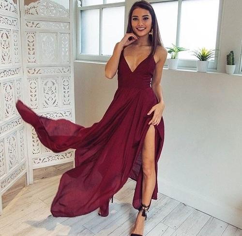V Neck Chiffon Dress