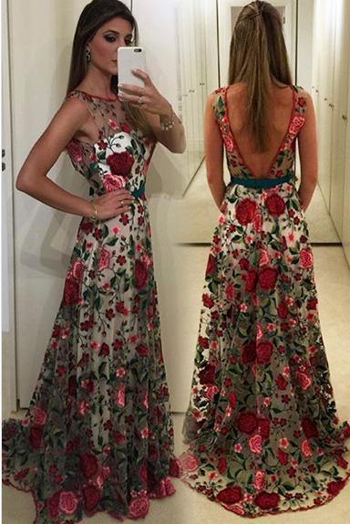 Round Neck Prom Dressessleeveless Prom Dressunique Prom Dressv
