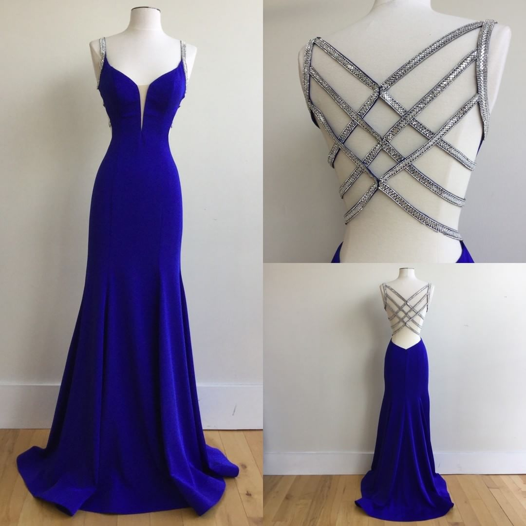 Blue Spaghetti Strap Prom Dress