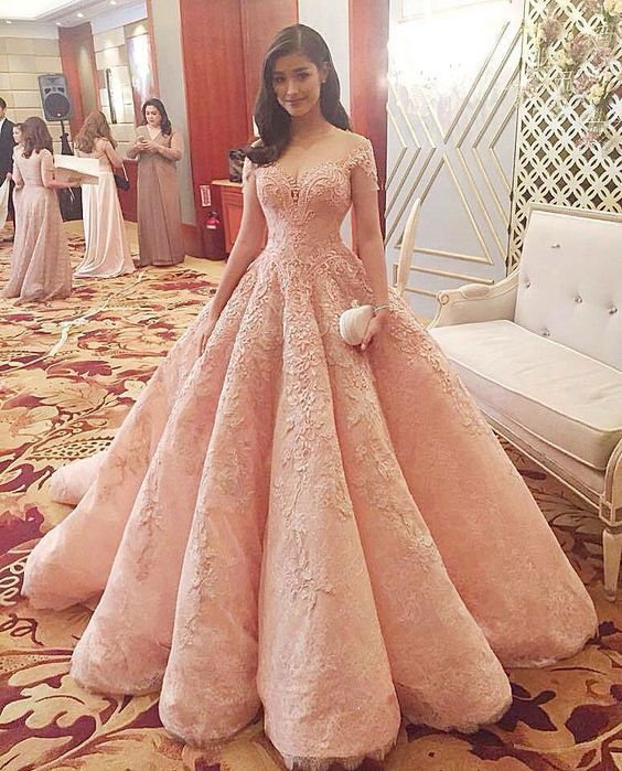 Gorgeous Short Sleeve Pink Prom Dress 201