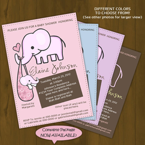 Elephant Baby Shower Printed Invitations pink blue purple brown
