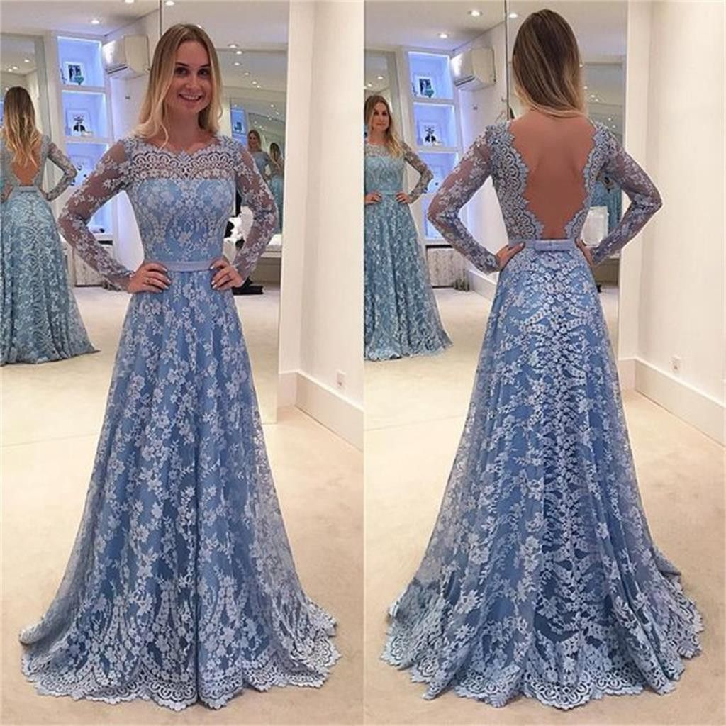 Long Sleeve Blue Lace A-line Open Back Cocktail Evening Party Prom ...