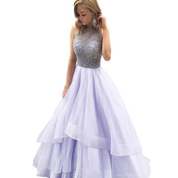 LoliPromDress HandmadeBeading Tiers Ball Gown Organza Prom Dresses ...