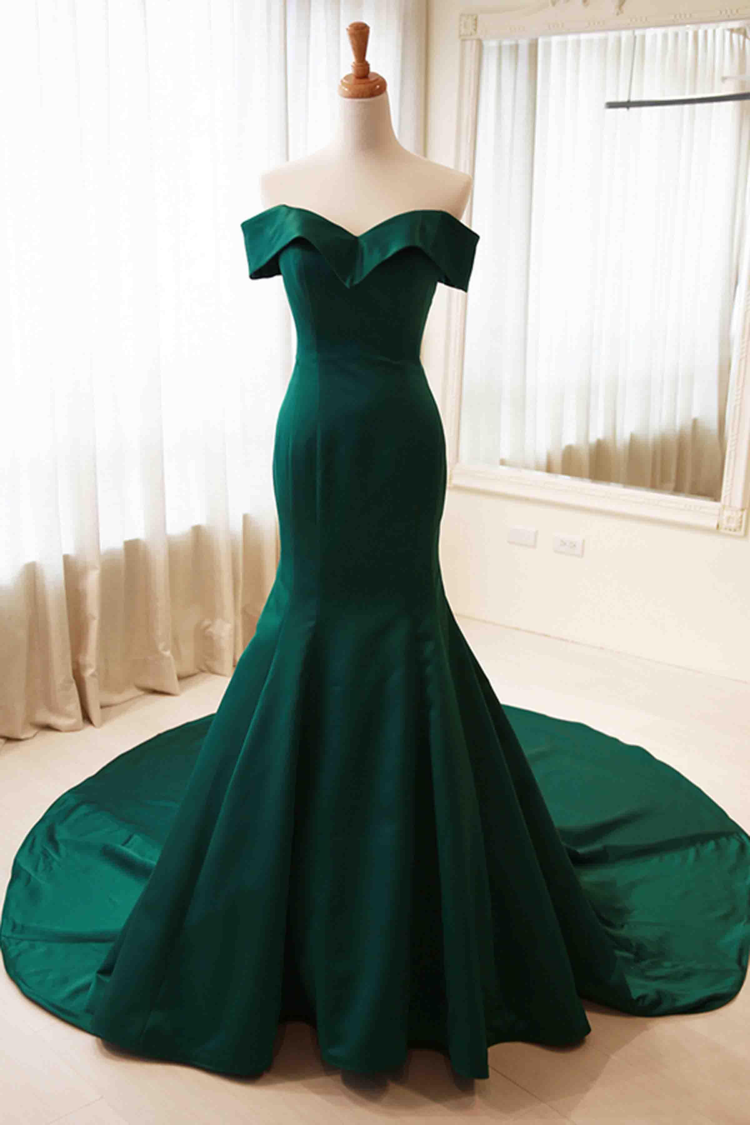 Green satins off-shoulder simple mermaid long prom dress,formal ...
