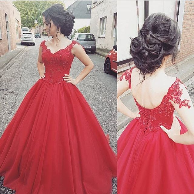 Red Cap Sleeve Princess Ball Gown Prom Dress ,Formal Gown With ...
