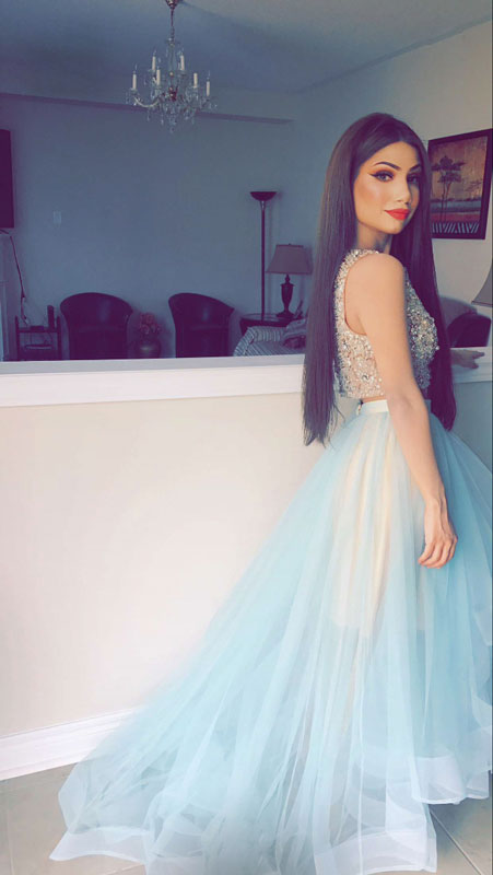 Dress Day Light Blue Two Pieces Sequin Beads High Low Prom Dress