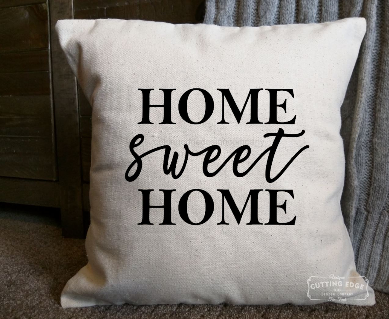 Home Sweet Home Cotton Canvas Natural Pillow   Throw Pillow   Couch Pillow    Graphic Pillow