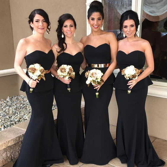 Strapless Sweetheart Neck Black Satin Gold Sash Bridesmaid Dresses