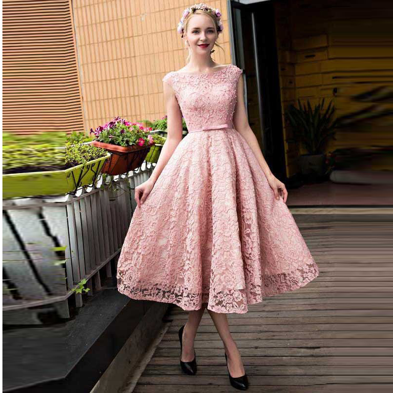 Pink Lace Tea Length Homecoming Dress, Cap Sleeve Party Dress For ...