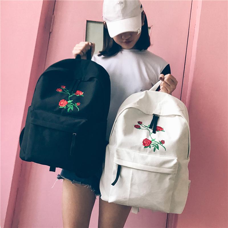 Harajuku rose embroidered backpack � storeunic online