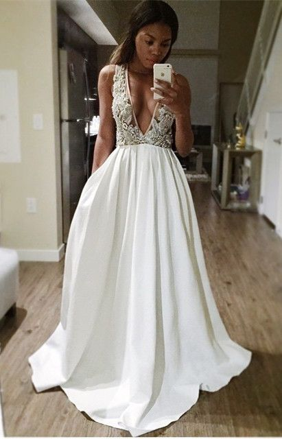 A-Line Deep V-Neck Sweep Train Backless Ivory Satin Prom Dress with ...