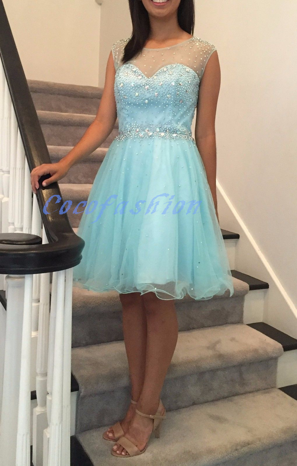 Sky Blue Beading Homecoming Dresses,Sexy Party Dress,Charming ...