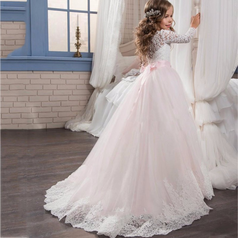 3a56bac7e White Pink Long Sleeves Flower Girl Dresses, Girls First Communion Dress,  Junior Bridesmaid Dress ...