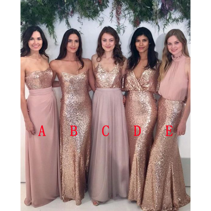 Long bridesmaid dresses, sequin