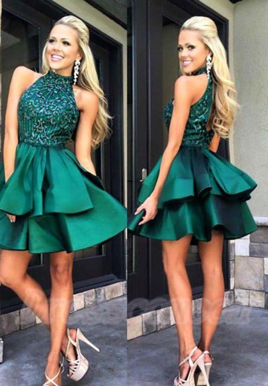 Green Halter Beading Open Back Homecoming Dresses,Short Prom Dresses ...