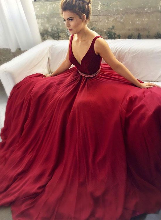 Sexy Wine Red Sleeveless Prom Dress V Neck Backless Sashes Evening