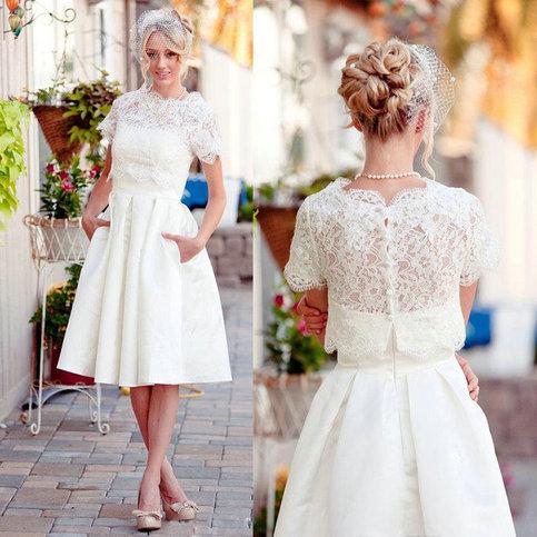 Vintage two piece lace short wedding dress sanct sophia for Robes de mariage en consignation ct