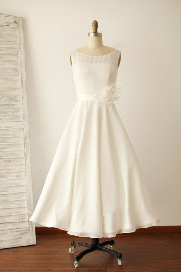 Ivory Illusion Boat Neck Tea Length Sleeveless Wedding Dresses ...