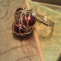 3 Brown Pearl Wire Wrapped Ring