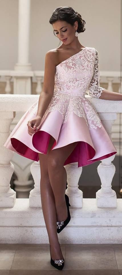 short homecoming dresses,one shoulder homecoming dresses,lace ...