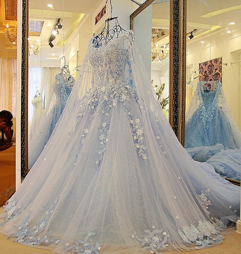 D362 lace romantic long chapel train plus size pregant for Light blue wedding dress meaning