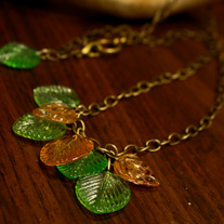 A Dryad's Leaves Glass Drop & Brass Necklace