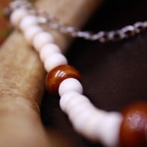Wood and Glazed Porcelain Simple Necklace