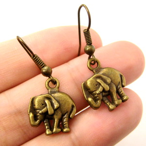 Small and Cute Elephant Animal Charm Dangle Earrings in Bronze