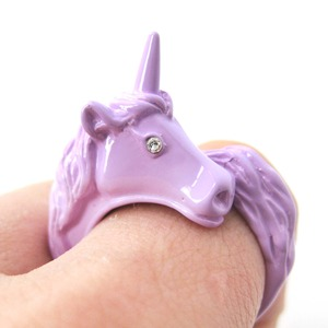 3D Adjustable Unicorn Animal Wrap Around Ring in Purple