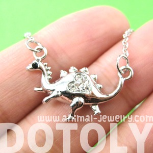 Small Dinosaur Prehistoric Animal Pendant Necklace in Silver