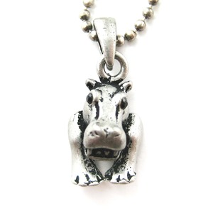 Realistic and Cute Hippo Animal Charm Pendant Necklace in Silver