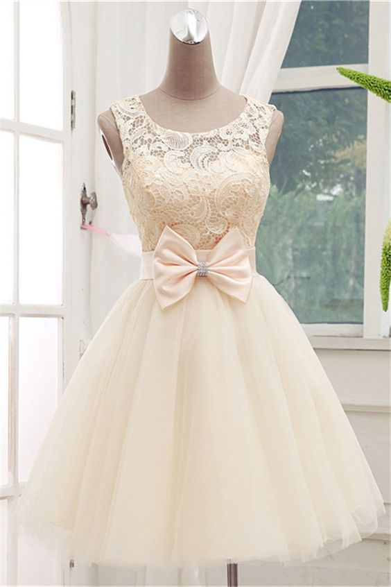 Gorgeous Champagne Lace Ball Gown Knee Lenth Prom Dress, Lace Prom ...