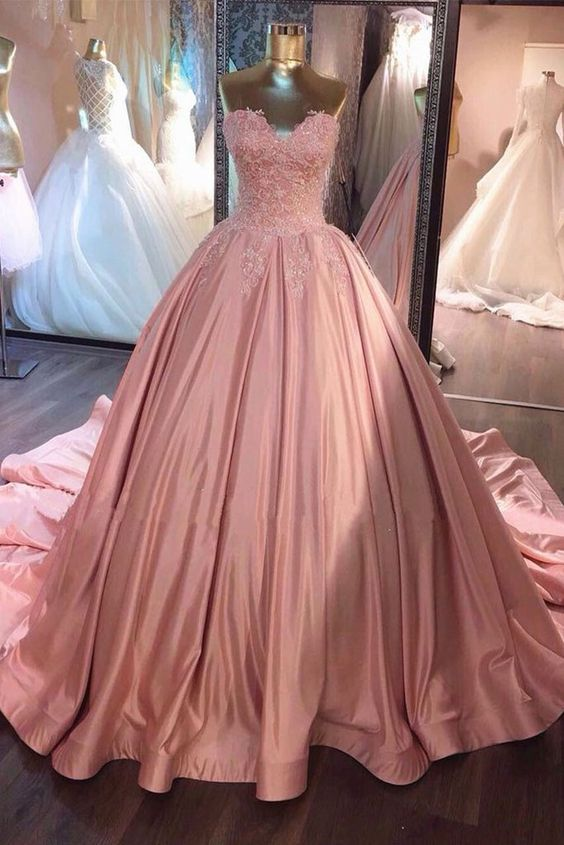 Lace Appliques Ball Gown Prom Dress,Elegant Prom Dresses,Quinceanera ...