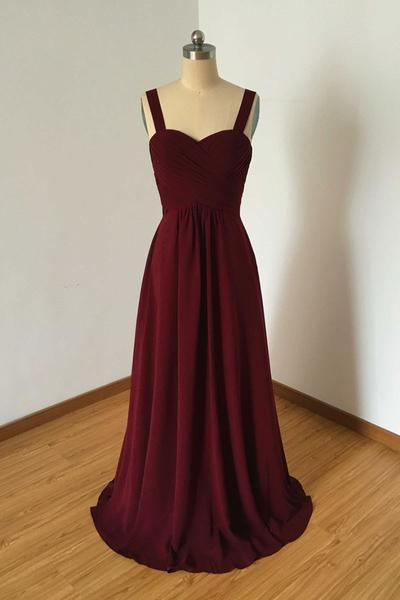 Burgundy chiffon sweetheart long prom dress bridesmaid for Long wedding dresses under 100