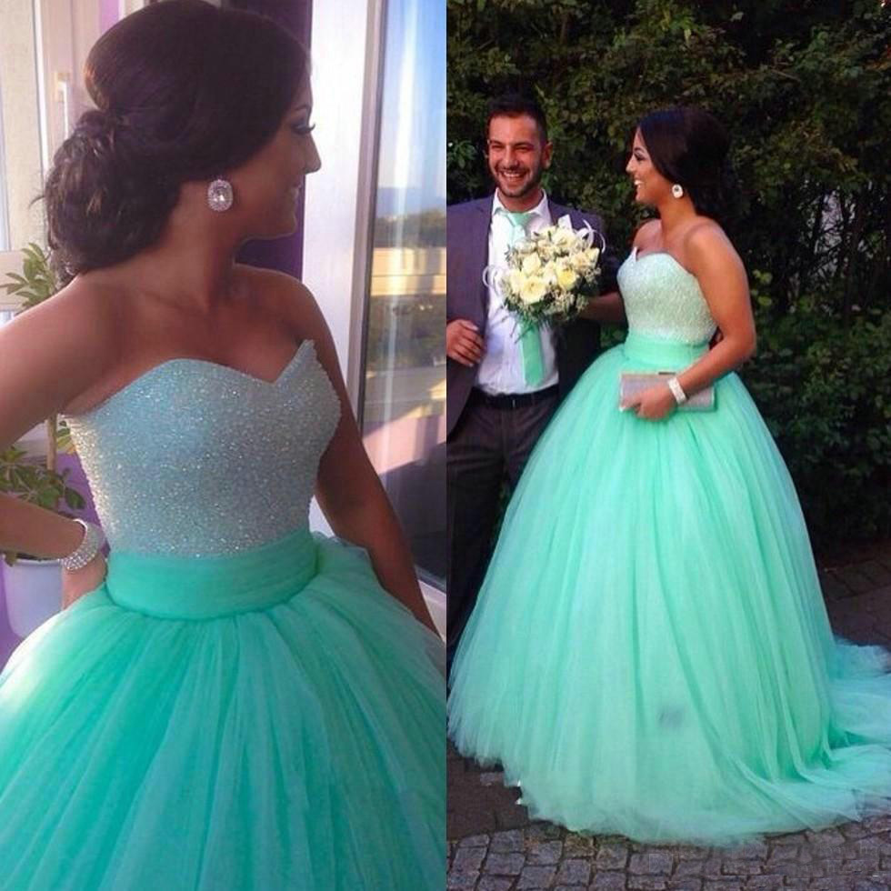 Charming Sequin Prom Dress,Puffy Mint Green Ball Gown Prom Dress ...