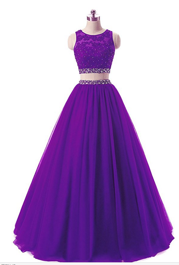 Charming Prom Dress,Two Piece Tulle Prom Gown,Purple Evening Dress ...