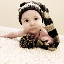 Baby Elf Big Pom Handmade Crochet  Winter Hat Photo Prop