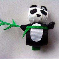Panda Ribbon Sculpture Hair Clip Handmade Boutique Bow