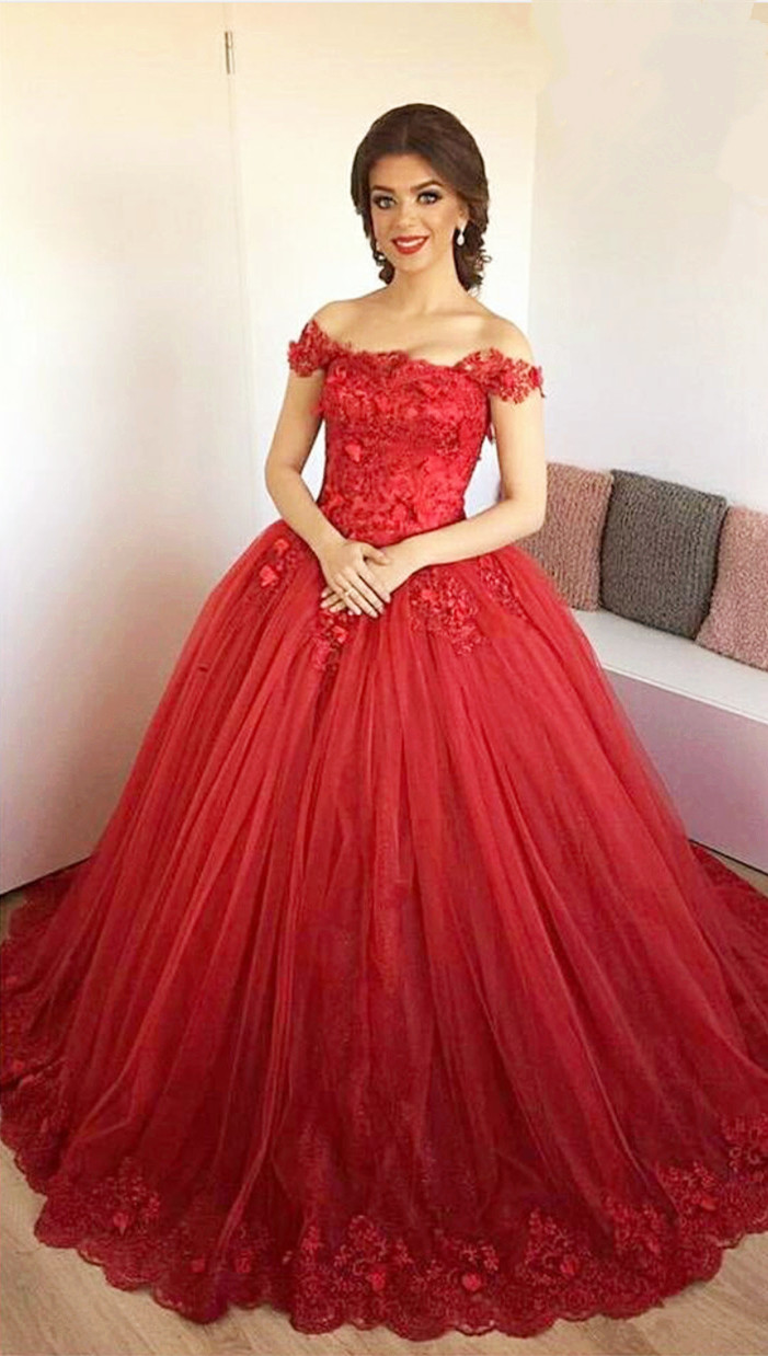 Lace Embroidery Sweetheart Tulle Ball Gowns Prom Dresses 2017 ...