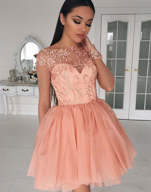 Cheap homecoming dresses 2018 Cute A-Line Bateau Cap Sleeves Tulle ...