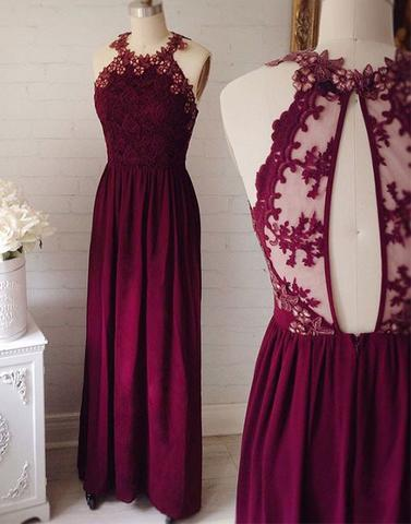 2017 Round Neck Lace Long Prom Evening Dresses Bd170608