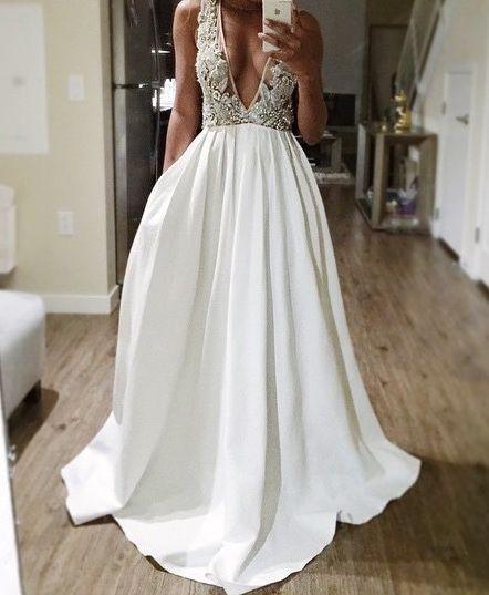 Rustic Wedding Dress with v neckline lace Appliques Unique a line ...