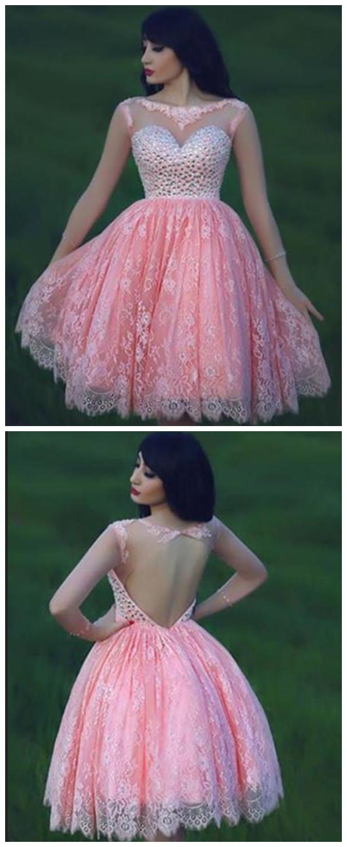 Lace Homecoming Dress,Pink Homecoming Dress,Pink Homecoming Dress ...