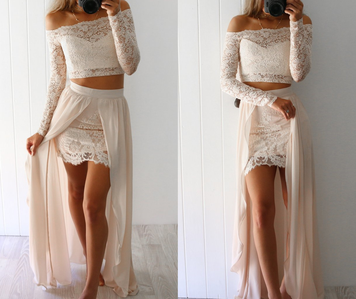 Two Piece Prom Dress2 Piece Lace Prom Dresseslong Sleeves Beige